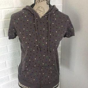 Short Sleeve Zip Front Hoodie Tiny Hearts Design